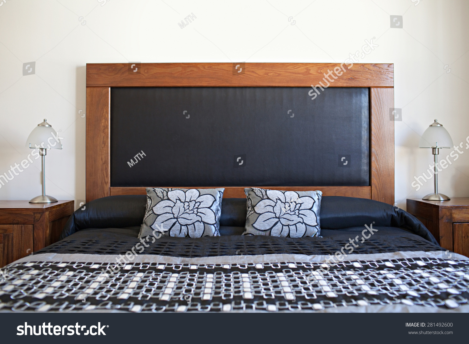 Still life view of an apartment masculine bedroom with - Bright house bedroom furniture ...