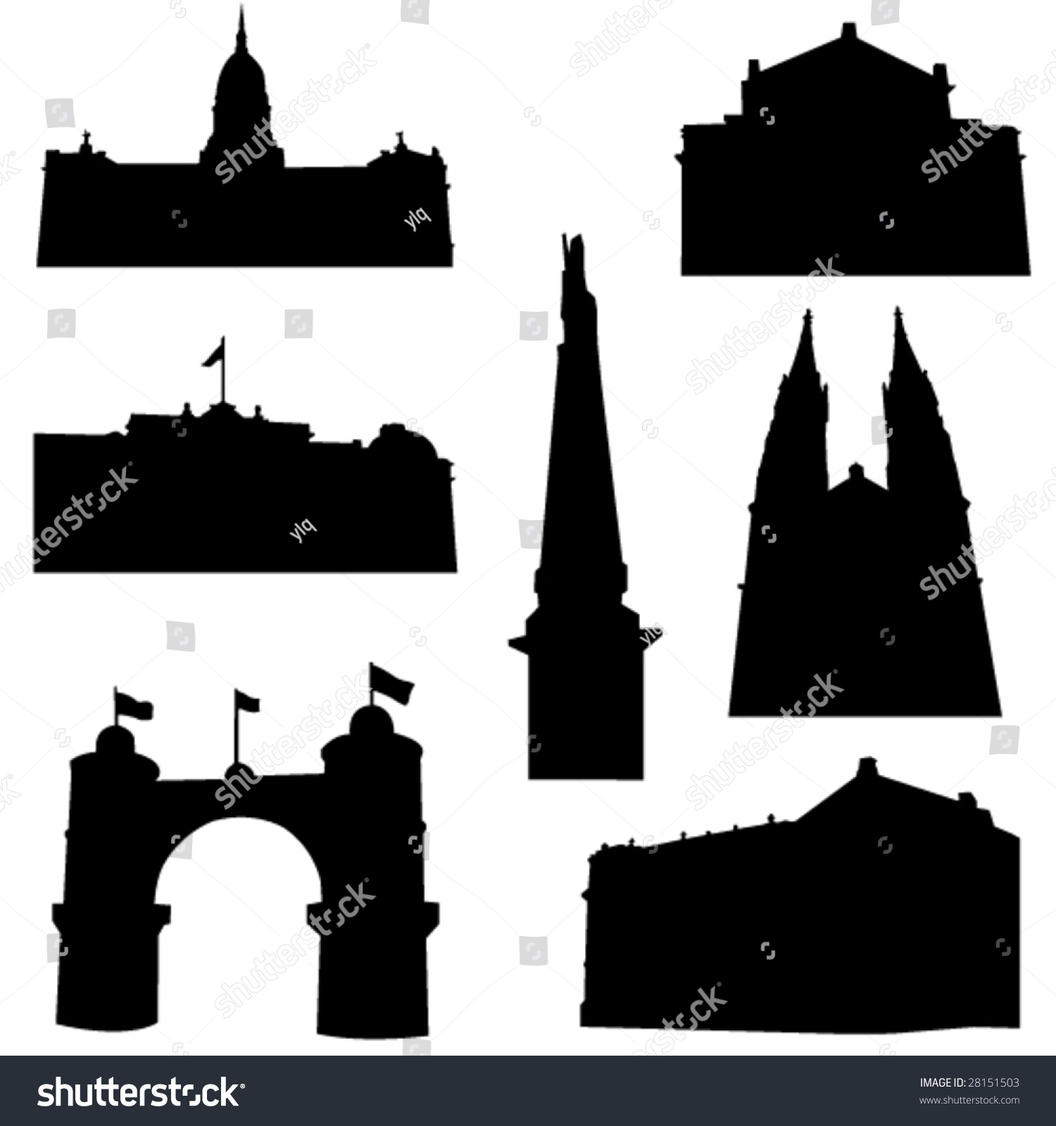 well known argentina architecture stock vector