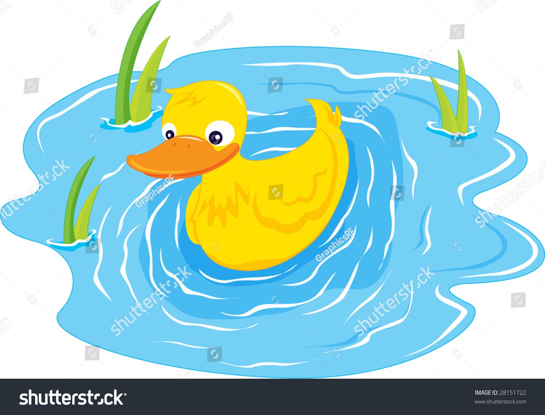 Illustration Duck Swiming Blue Pond Stock Illustration ...