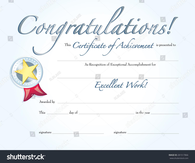 congratulations certificate achievement silver medal stock vector