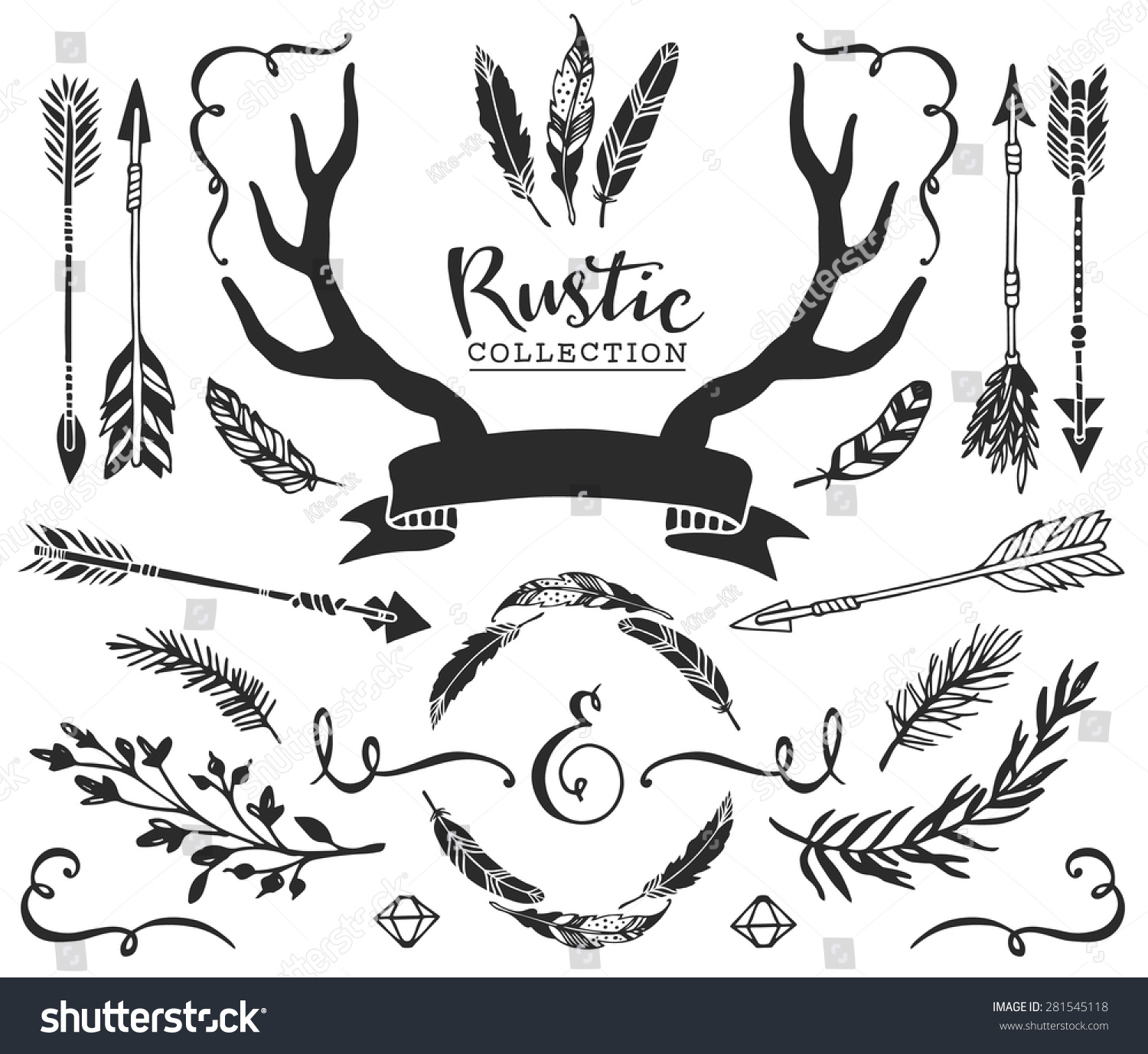 hand drawn vintage antlers feathers arrows with lettering rustic decorative vector design set