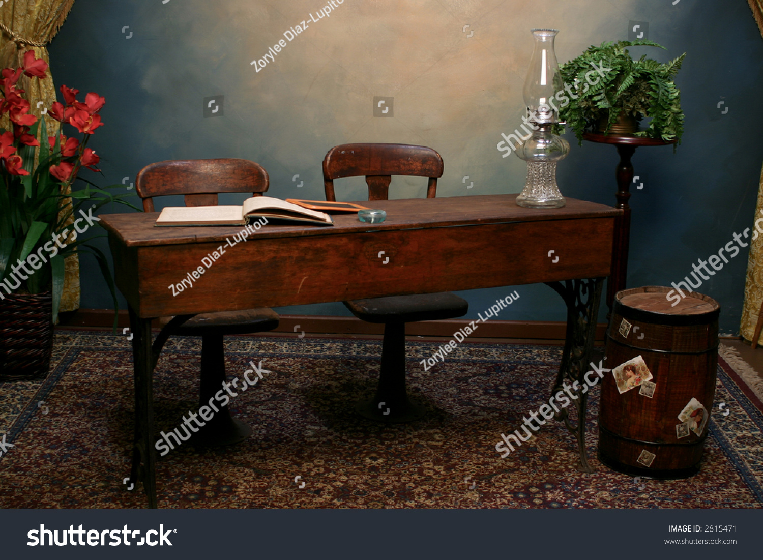 Old Fashioned School Desk Chairs On Stock Photo 2815471