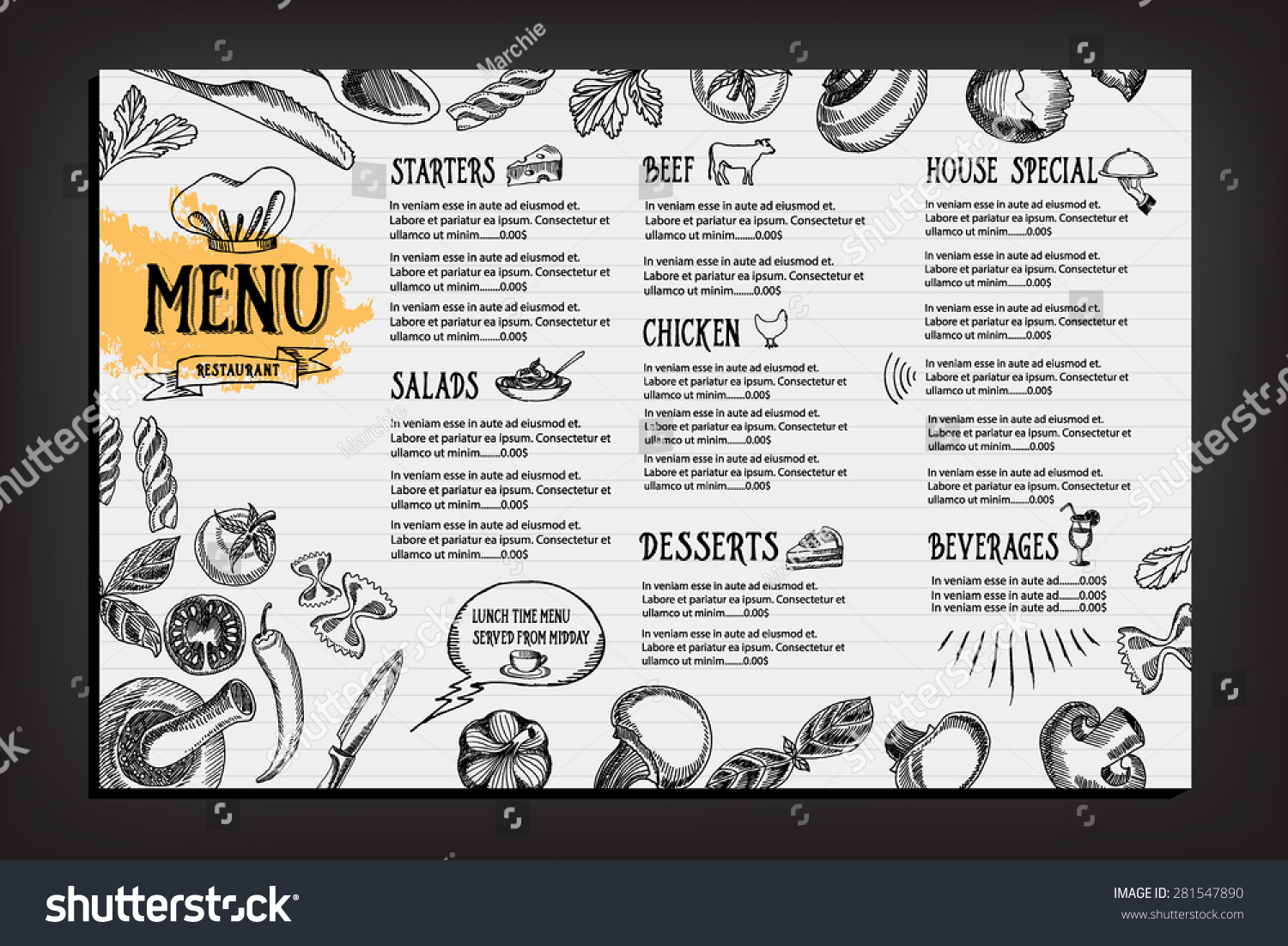 Cafe menu restaurant brochure food design stockvector