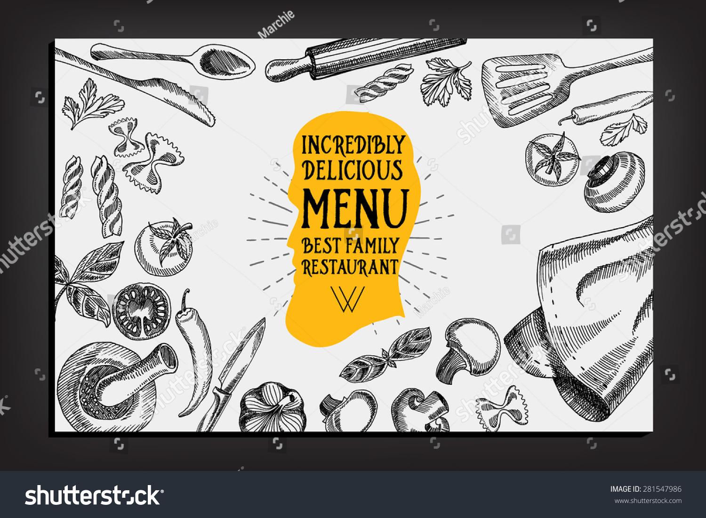 Cafe menu restaurant brochure food design stock vector