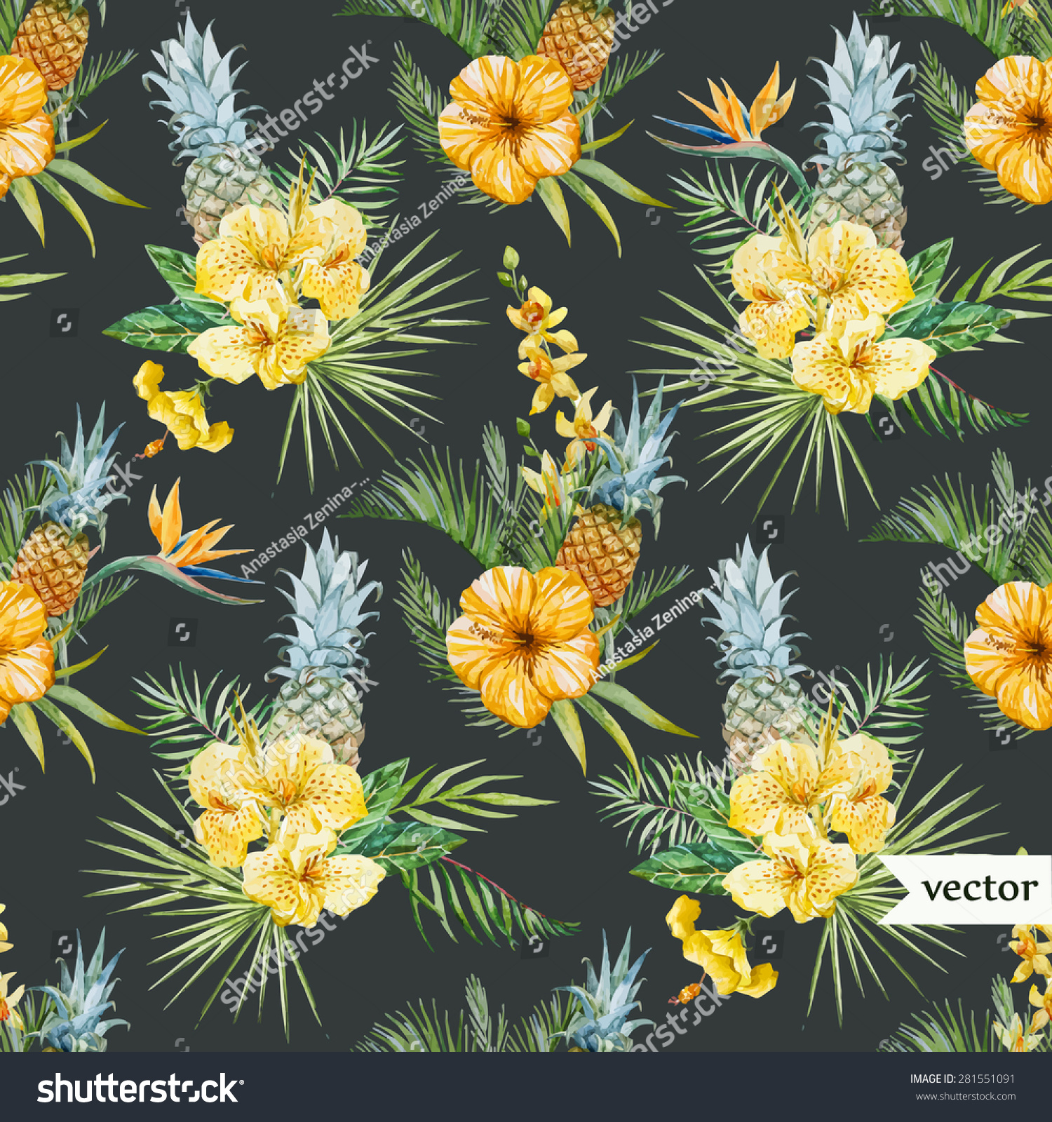Watercolor Vector Tropical Pattern Yellow Flowers Stock Vector