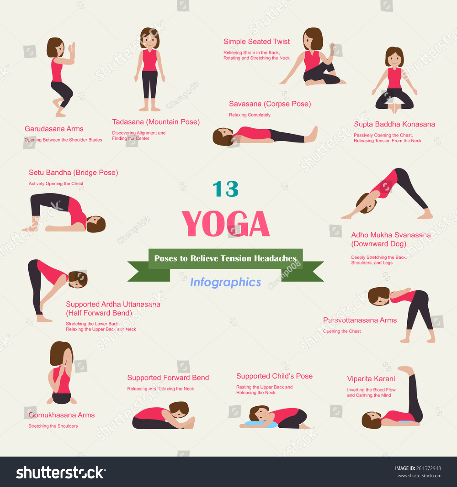 13 Yoga Poses Relieve Tension Headaches Stock Vector Royalty Free 281572943