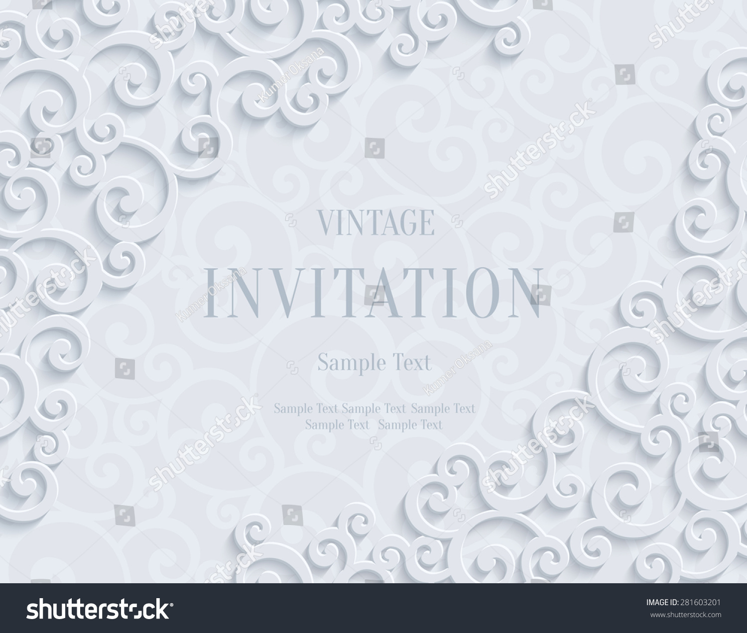 White 3d Floral Swirl Horizontal Background Stock Vector 281603201