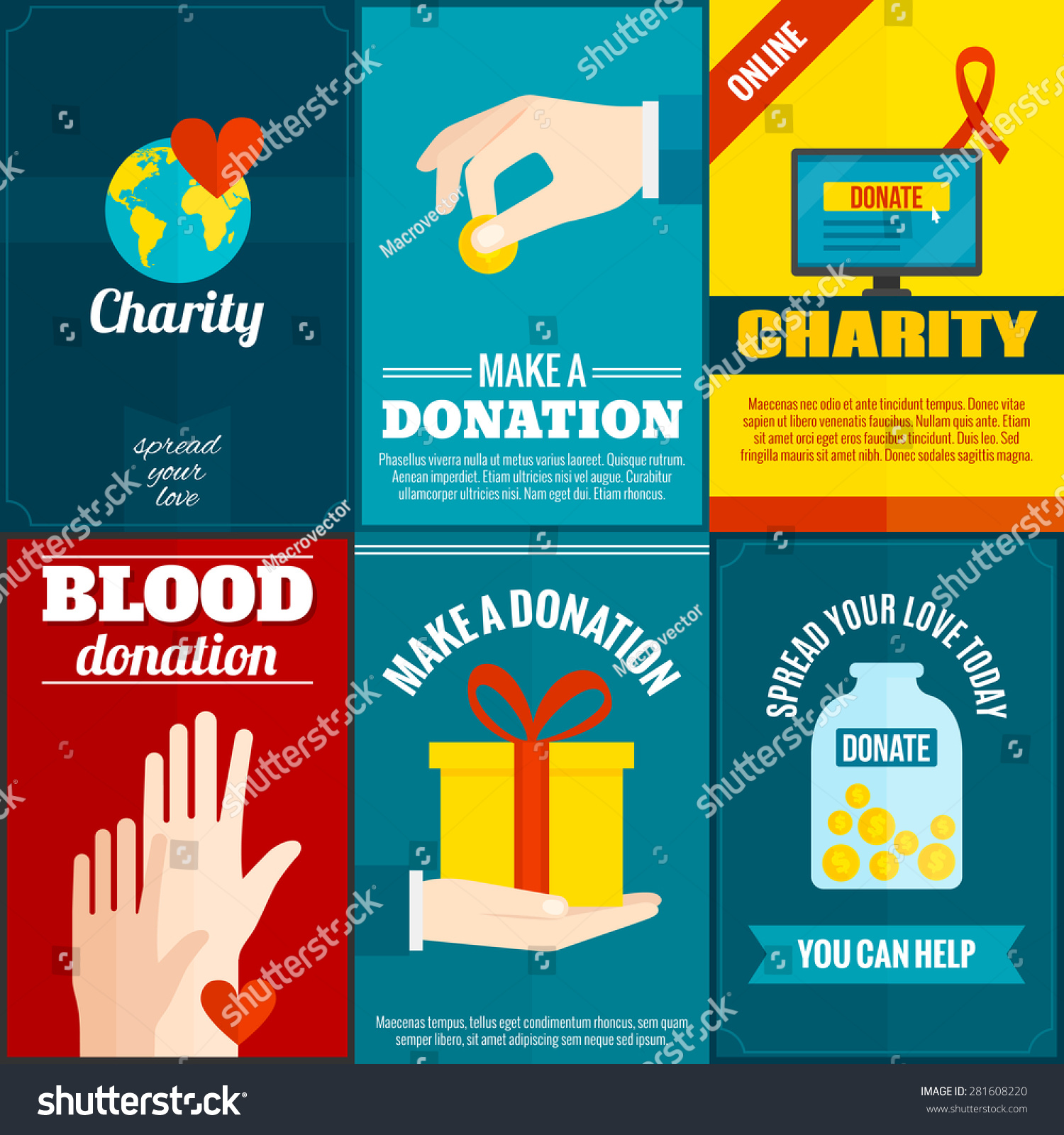 Poster design on blood donation - Charity Mini Posters Set With Money And Blood Donation Flat Isolated Vector Illustration
