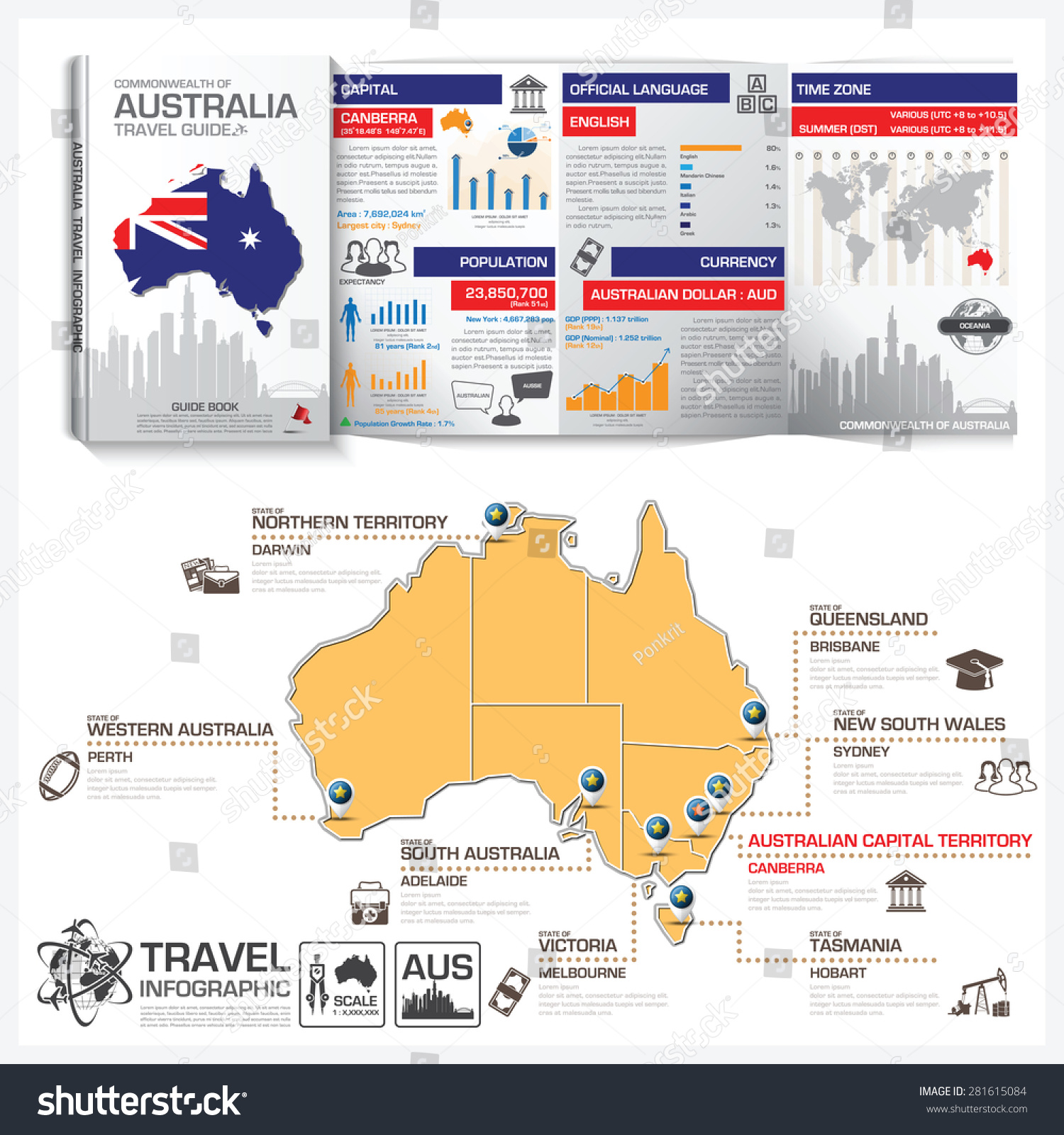 Commonwealth australia travel guide book business vectores en stock commonwealth of australia travel guide book business infographic with map vector design template gumiabroncs Images