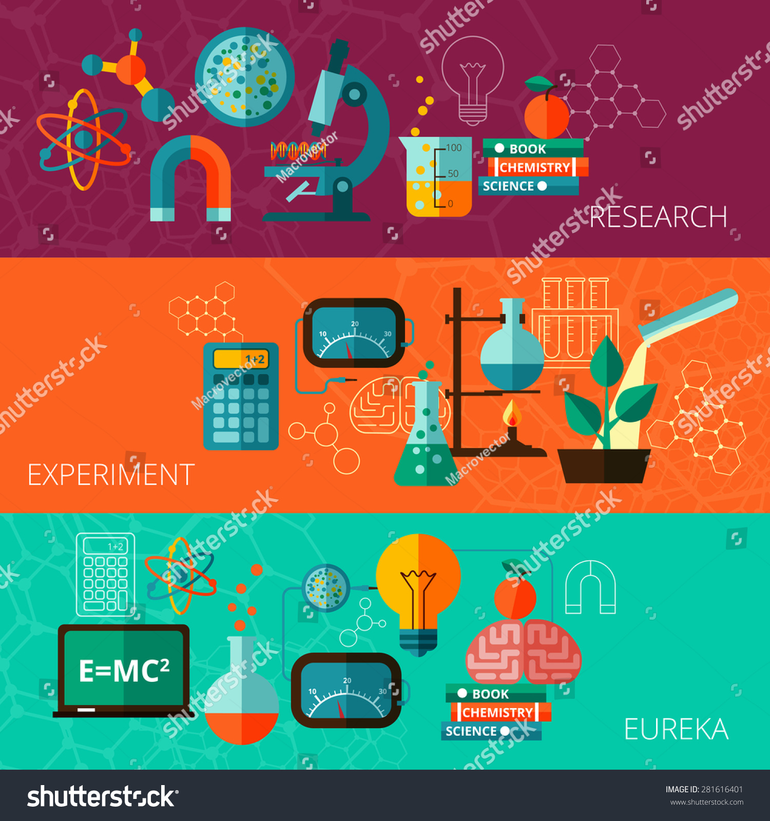 Chemistry physics scientific research experiment eureka stock vector 281616401 shutterstock for Physics planning and design experiments