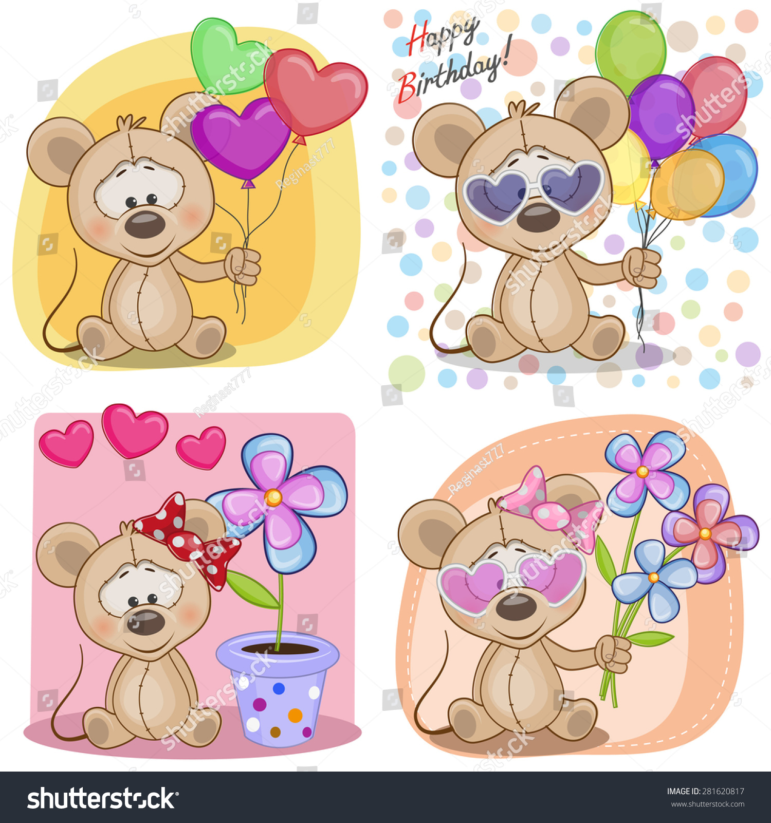 Set Birthday Cards Cow Vector 281620817 Shutterstock – Set of Birthday Cards