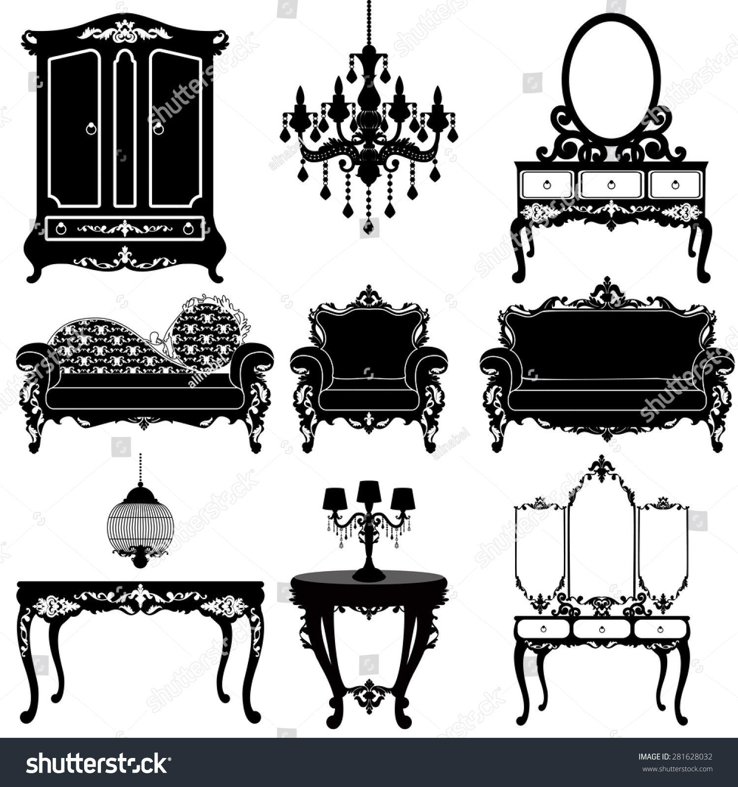 Vector Great Collection Furniture Baroque Style Stock