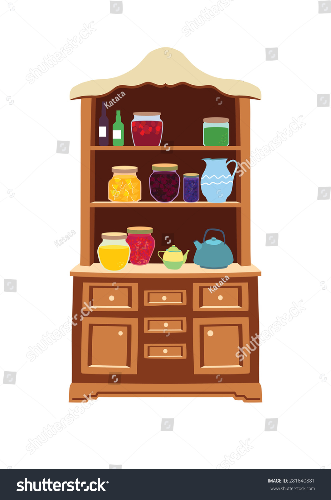 Antique Kitchen Cupboard For Supplies And Jam. Editable Vector Illustration  On White Background.