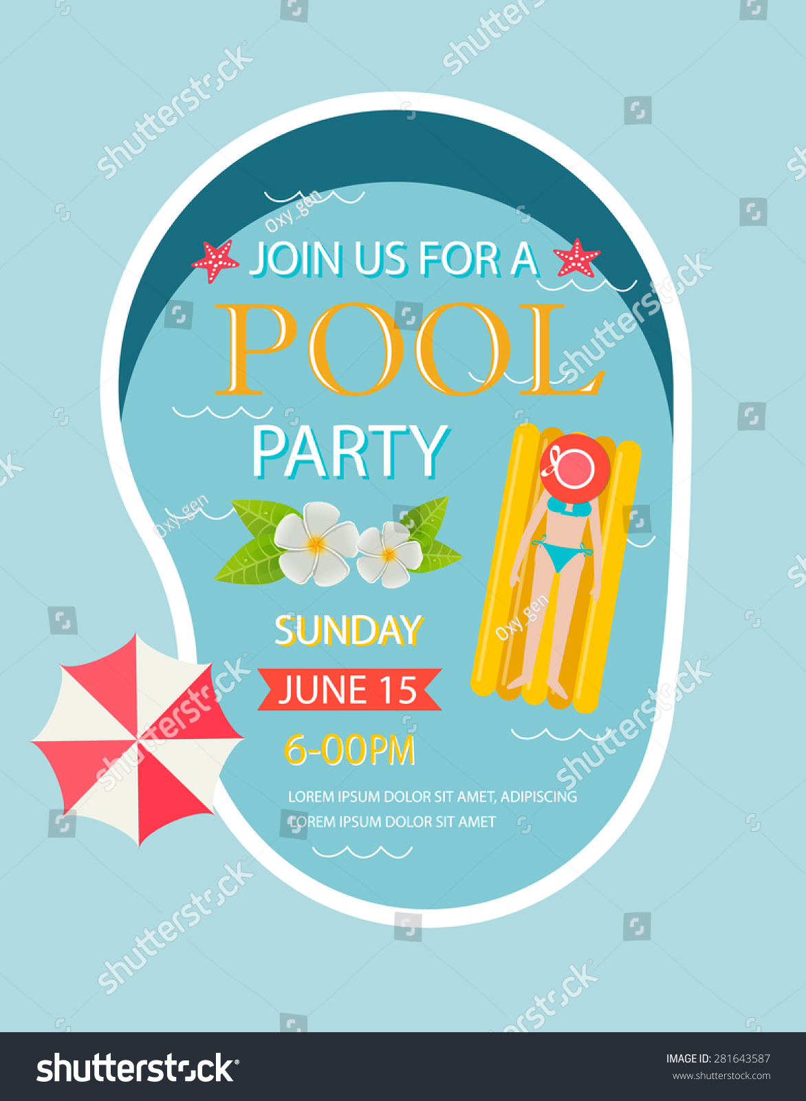 Pool party invitation with top view of pool vector for Pool design graphic