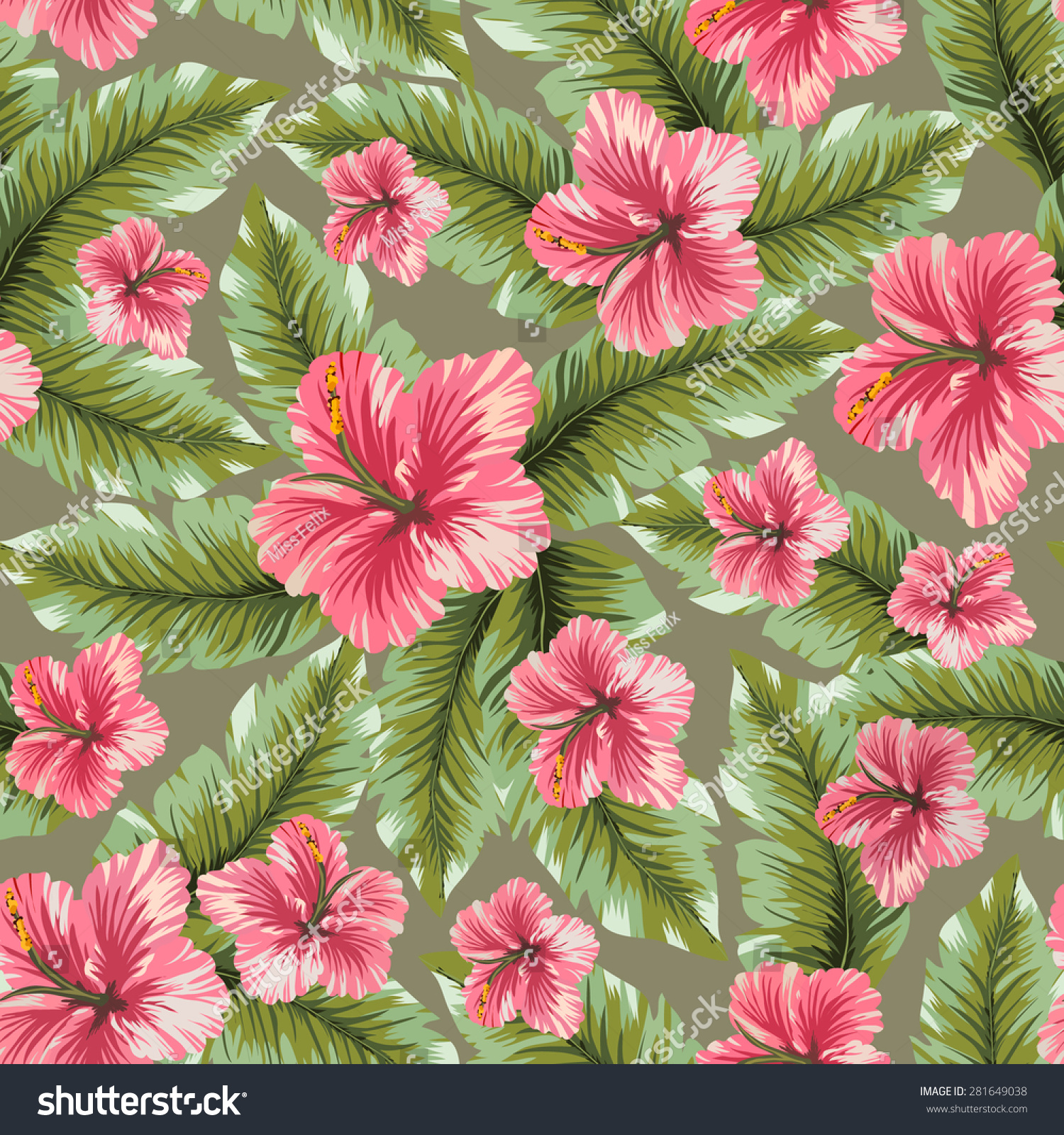 Vector seamless hawaiian flower pattern background stock vector vector seamless hawaiian flower pattern background hibiscus flowers and palm trees leaves seamless texture izmirmasajfo