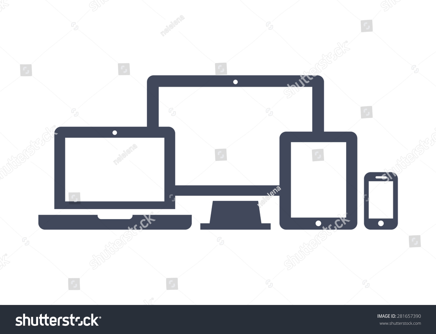 device icons smart phone tablet laptop stock vector