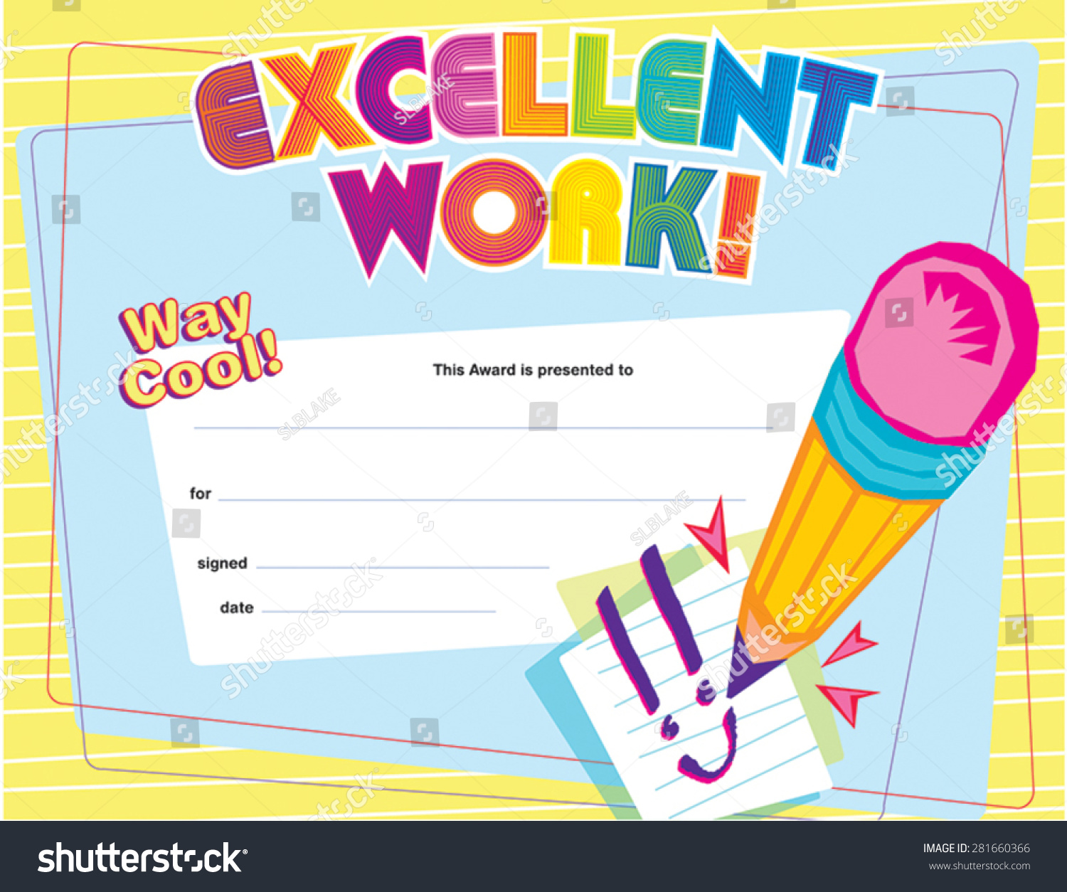 Excellent Work Certificate Stock Vector Royalty Free 281660366
