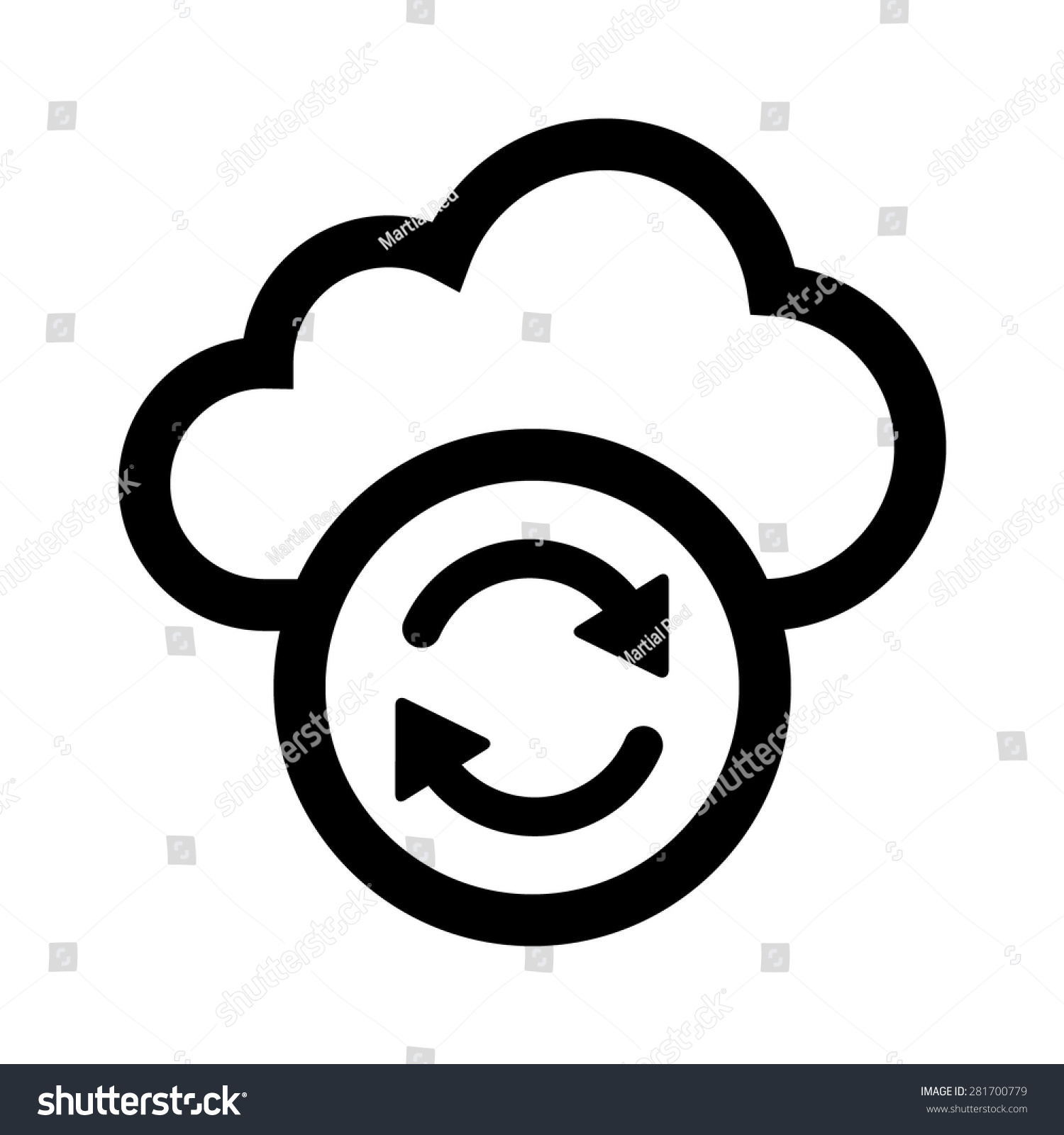 Line Art App : Cloud sync refresh line art icon stock vector