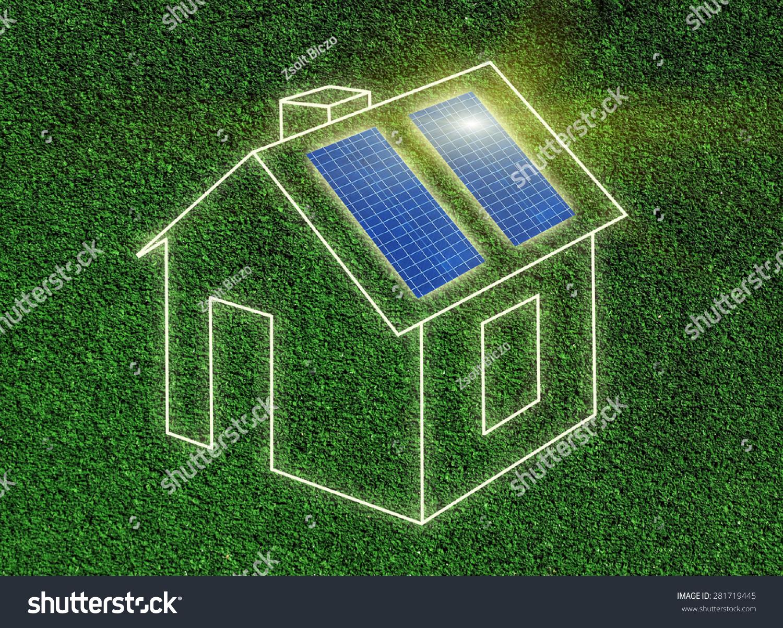Frame House Illustration Solar Panels On Stock