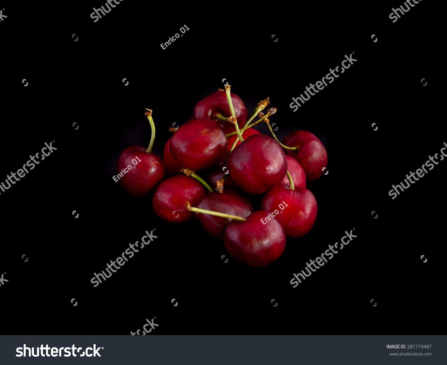 Cherries On A Black Background Stock Photo 281719487 ...