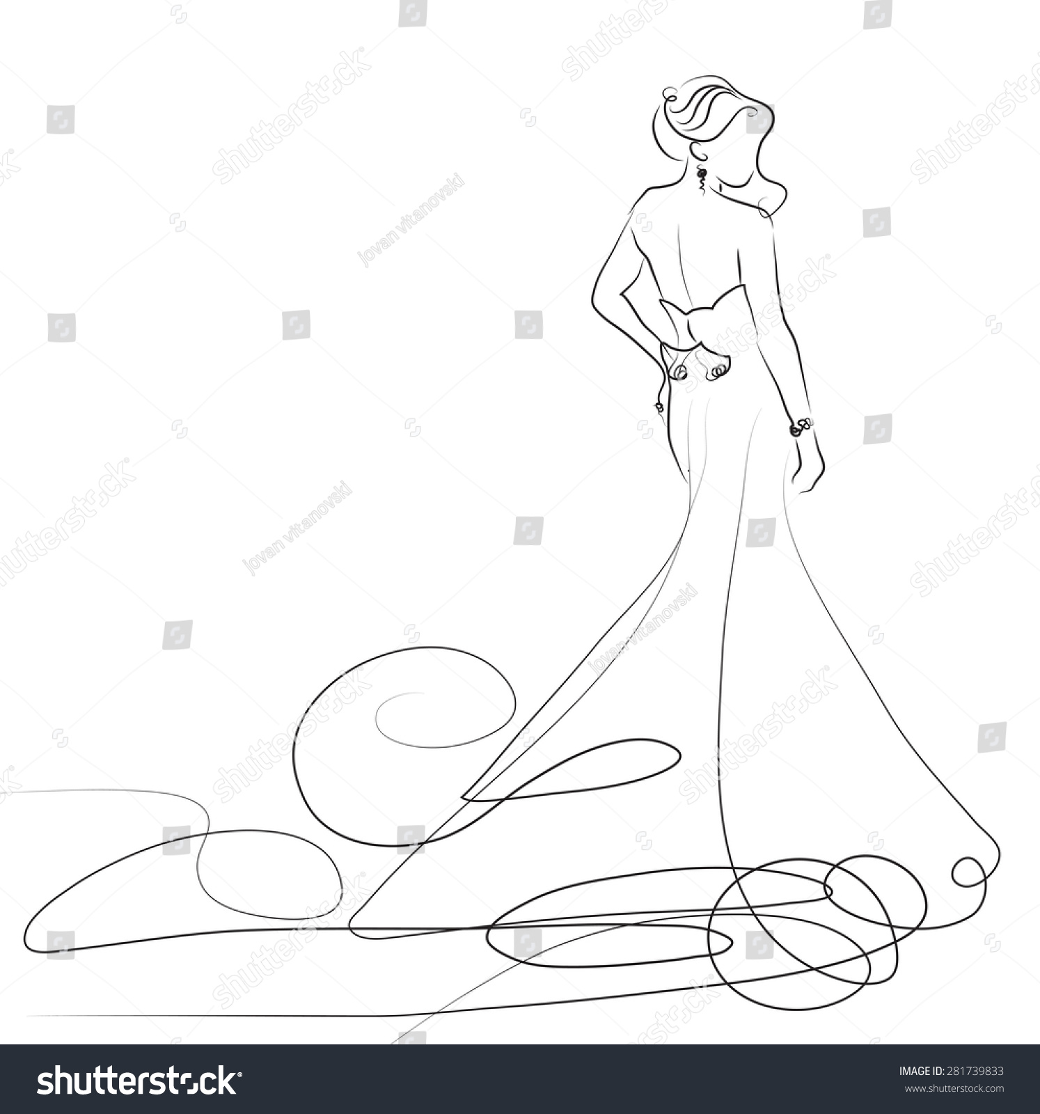 White dress drawing - Sketch Of Beautiful Young Bride In White Dress