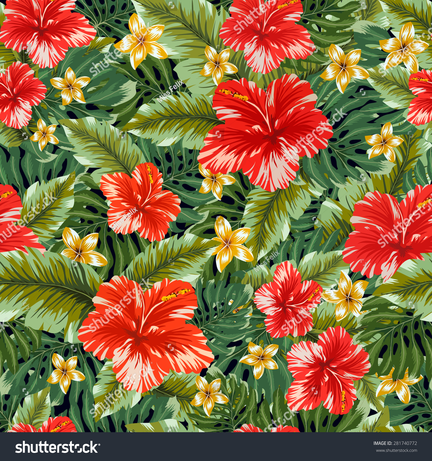 Seamless tropical flower vector pattern background stock vector hd seamless tropical flower vector pattern background hawaiian flower seamless pattern hibiscus flowers and palm izmirmasajfo Images