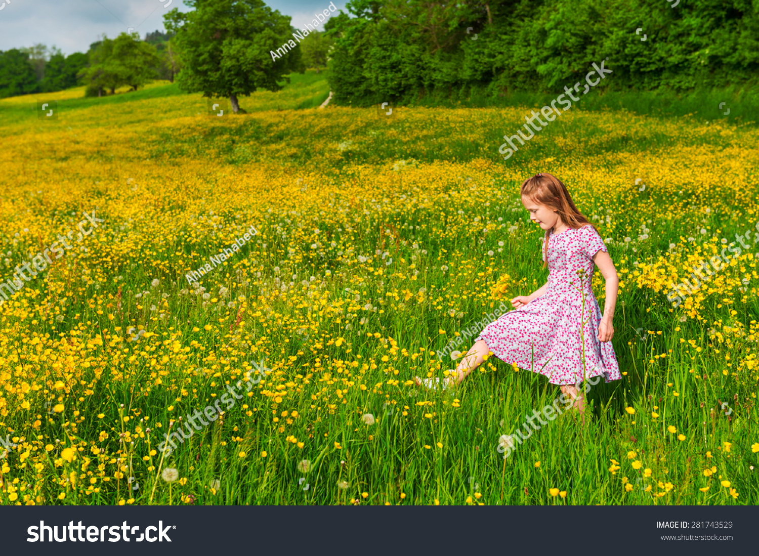 Adorable little girl of 7 years old playing in field full of yellow buttercups wearing summer dress