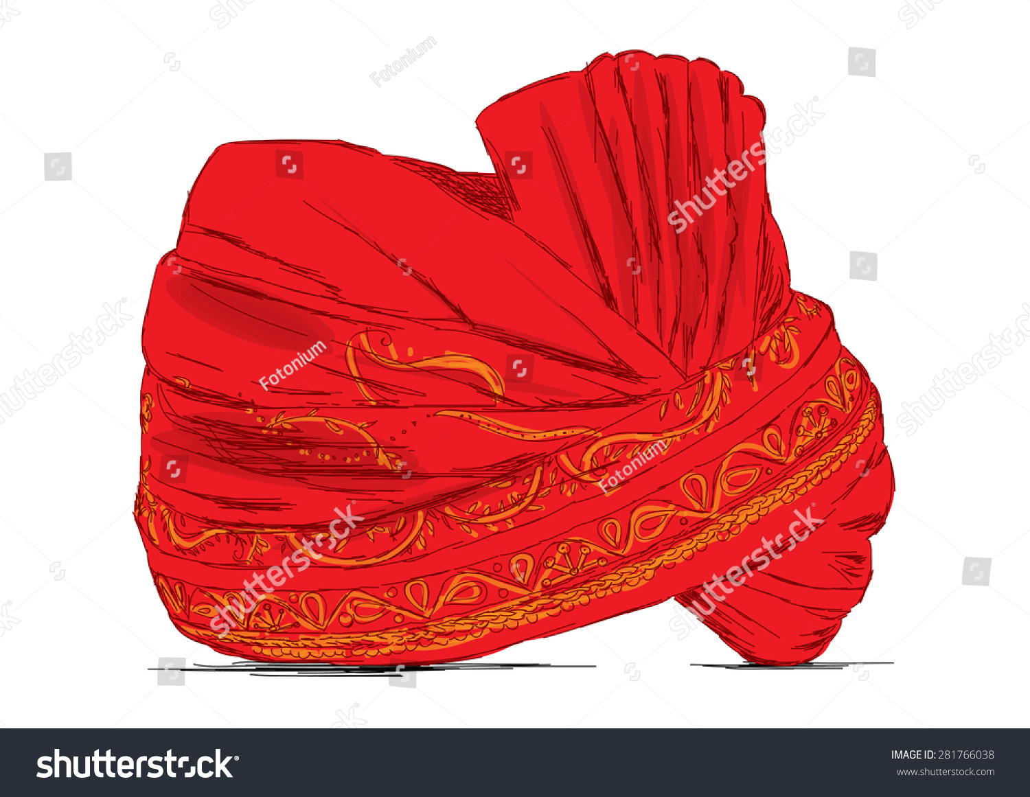 Indian Headgear Turban Used Marriages Vector Stock Vector ...