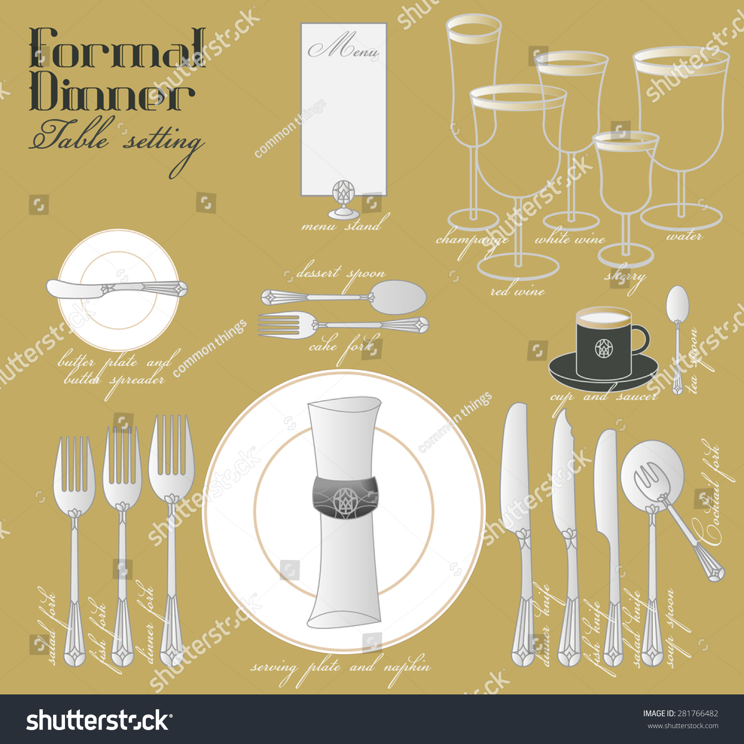 Elegant dinner table setting - Formal Dinner Table Setting Formal Dining With Elegant Table Decoration In Glamour Style Are Arrange For