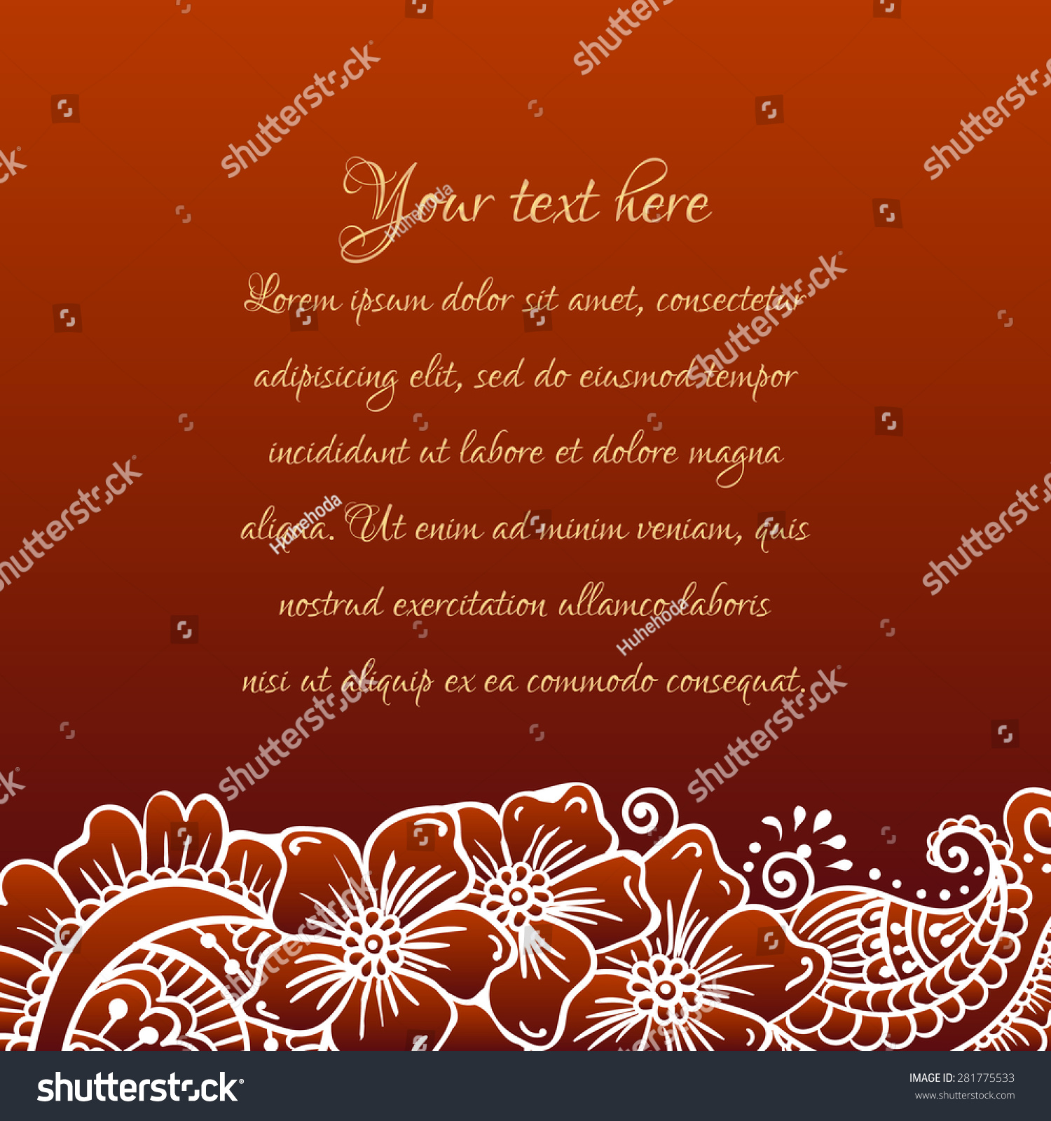 Floral Ornament Mehndi Henna Tattoo White Stock Vector (Royalty Free ...