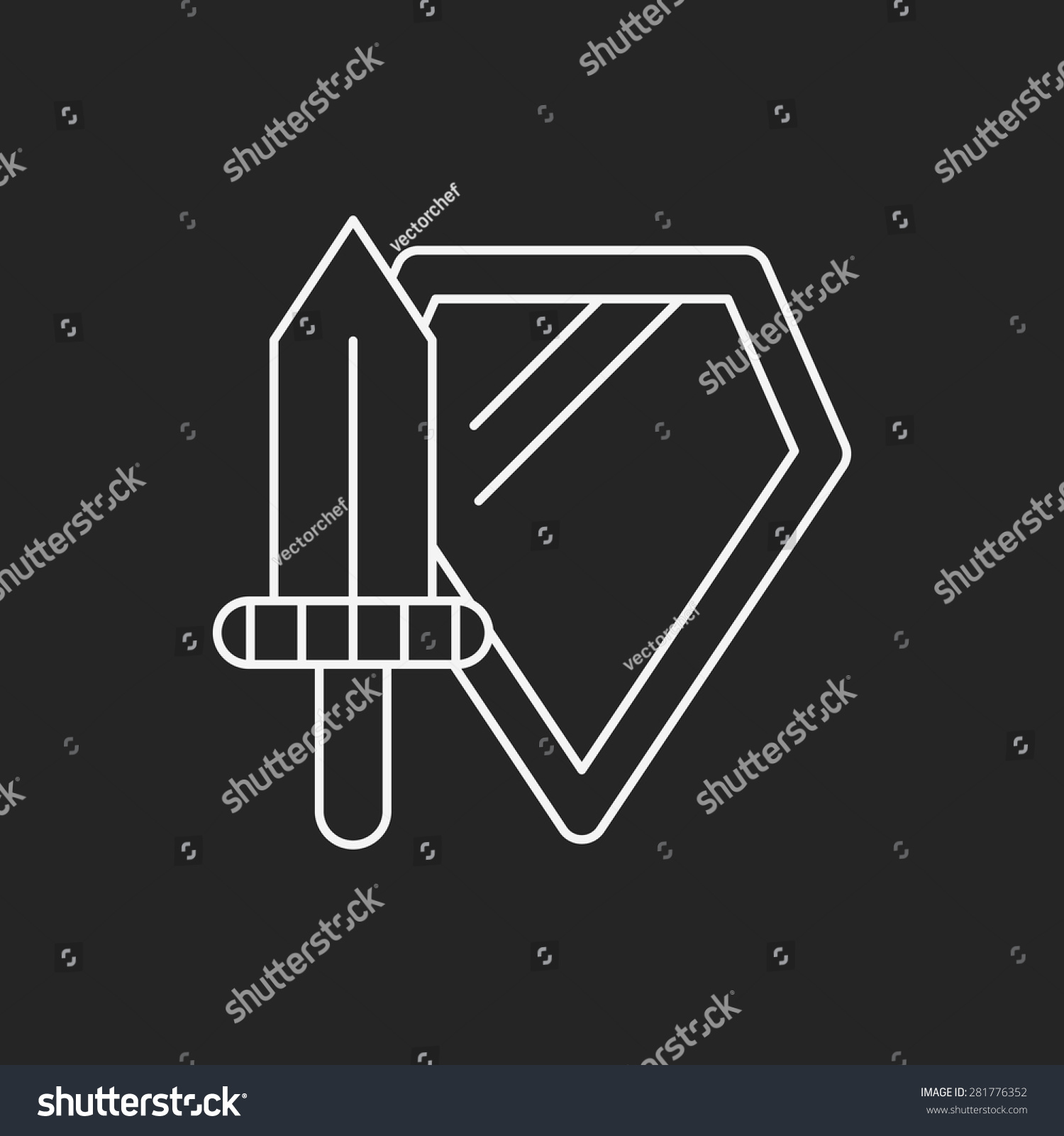 Toy Sword Shield Icon Stock Vector (Royalty Free) 281776352 ...