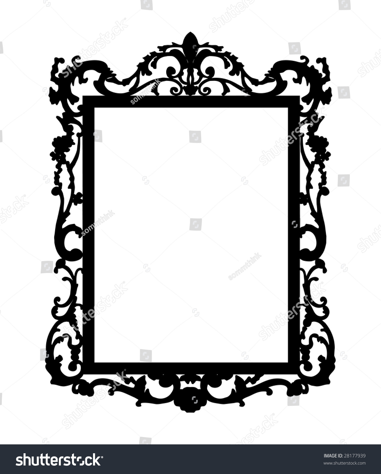 Wall Mirror Clipart Black And White Mirror Frame Stock Vectors