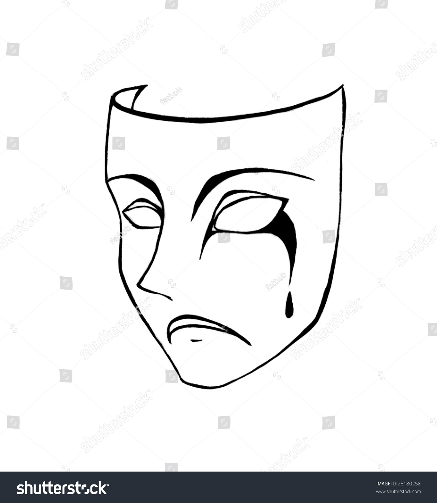 A black and white pencil sketch of a sorrowful face mask with tears