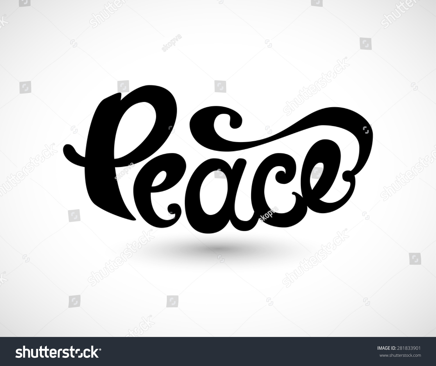 Peace Hand Drawn Unique Lettering Symbol Stock Vector Royalty Free