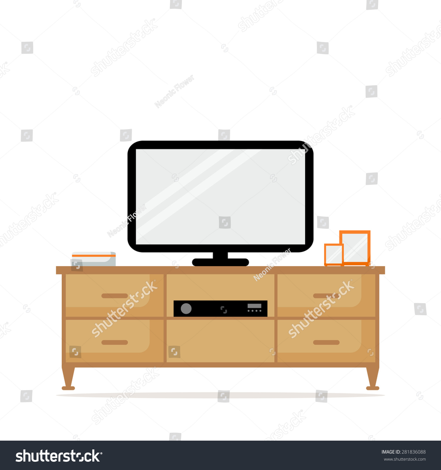 Flat Screen Tv Living Room Stock Photo