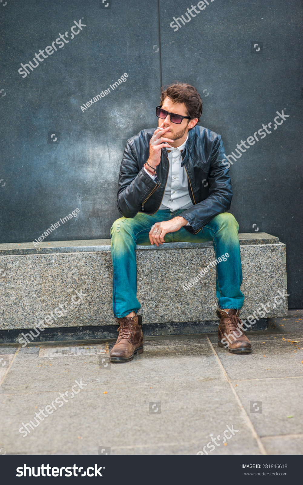 Wearing Black Leather Jacket Blue Jeans Stock Photo Edit Now