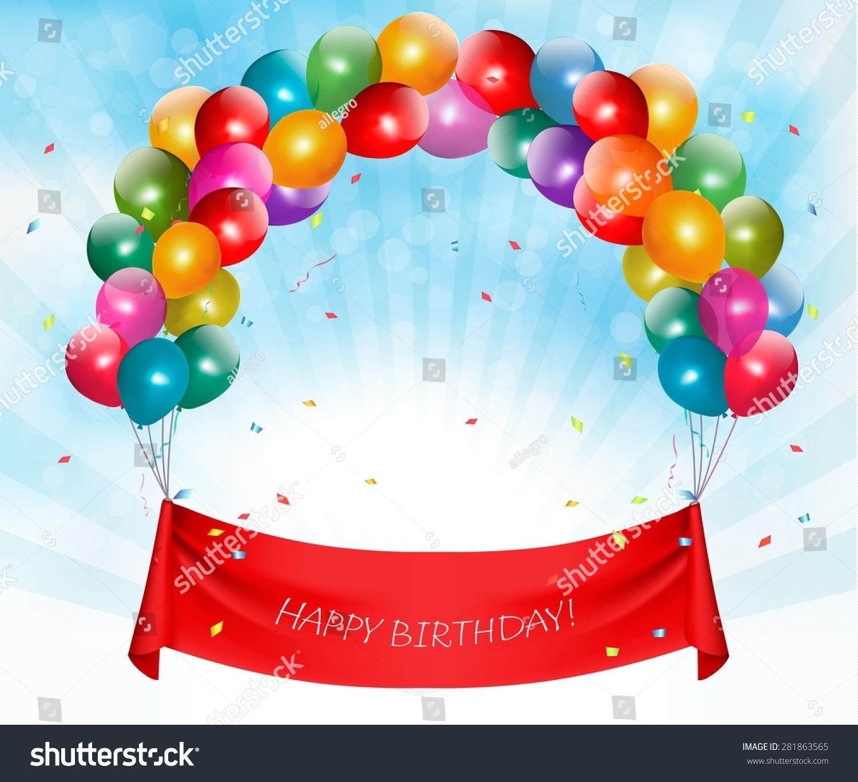 Happy Birthday Banner Background Vector Stock Vector