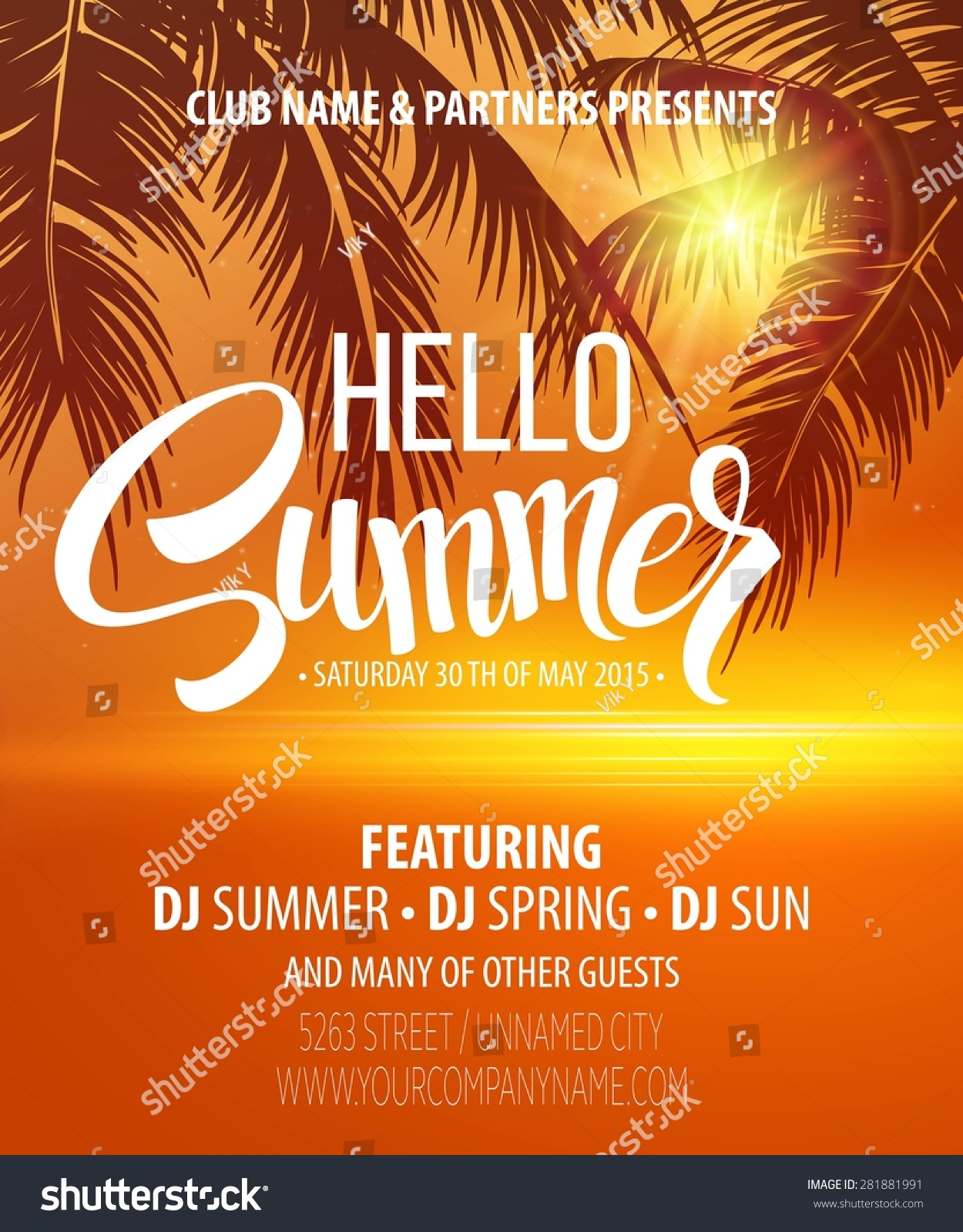 Hello Summer Beach Party Flyer Vector Stock Vector 281881991 ...