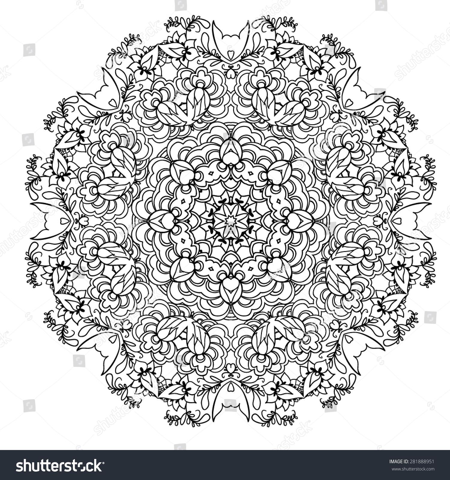 mandala round ornament template vector white background ez canvas