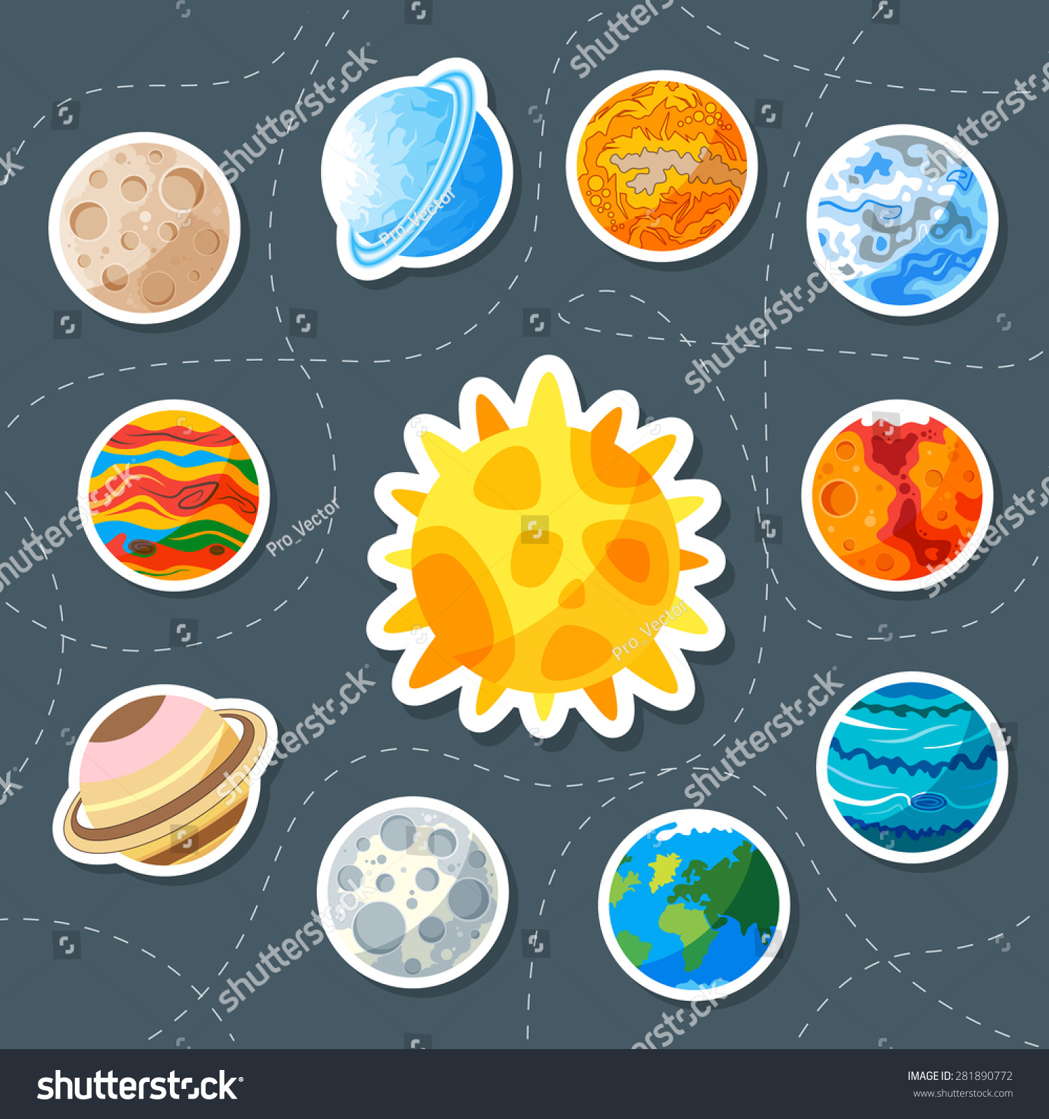 Royalty-free Cute planet. Sticker. saturn, mars ...