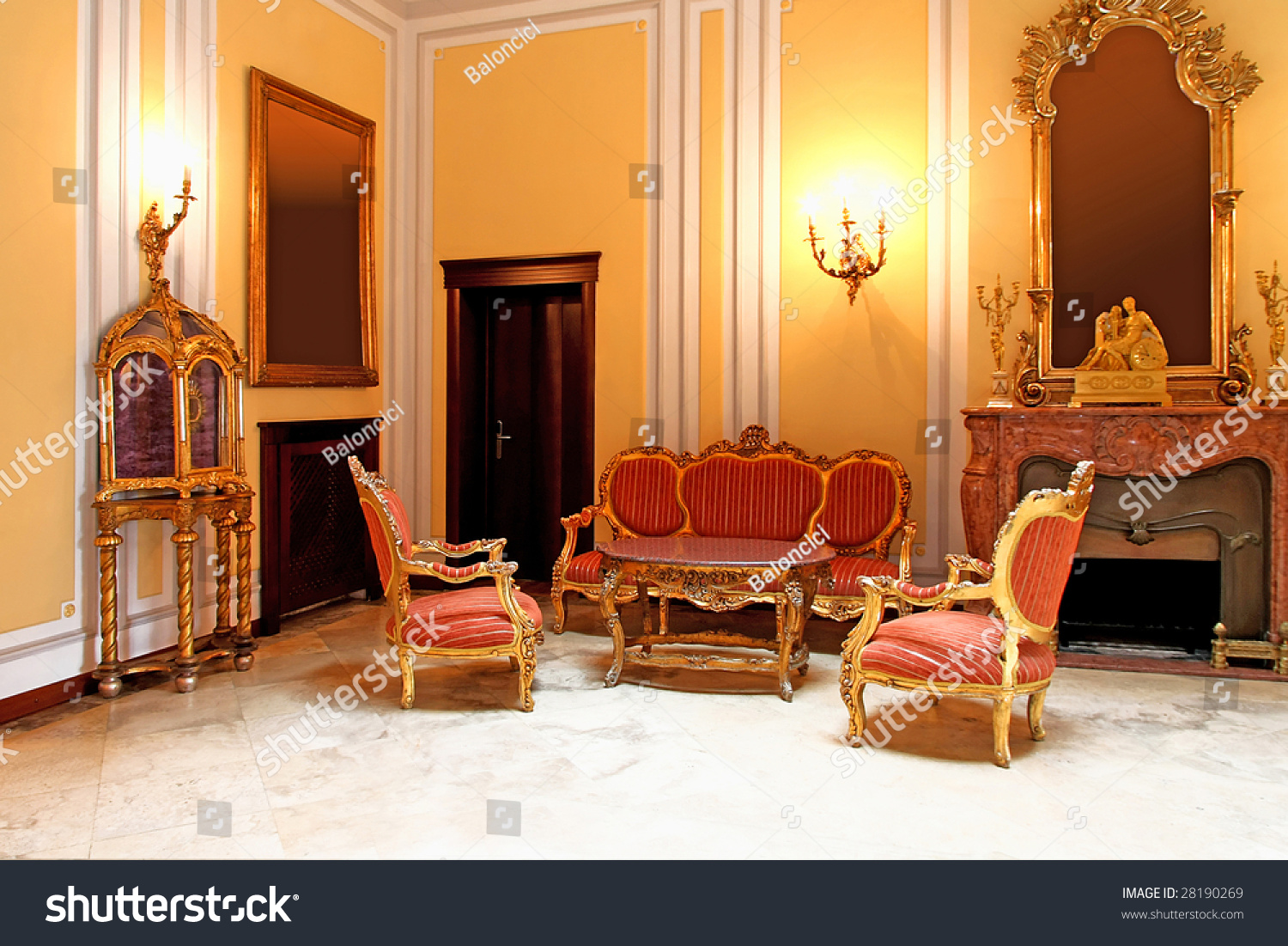 Medieval Style Room Old Furniture Marble Stock Photo Edit Now