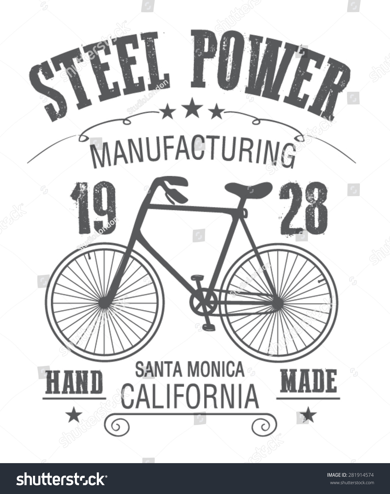 Shirt design illustrator template - Bicycle Illustration T Shirt Graphic Retro T Shirt Printing Label Bicycle Template