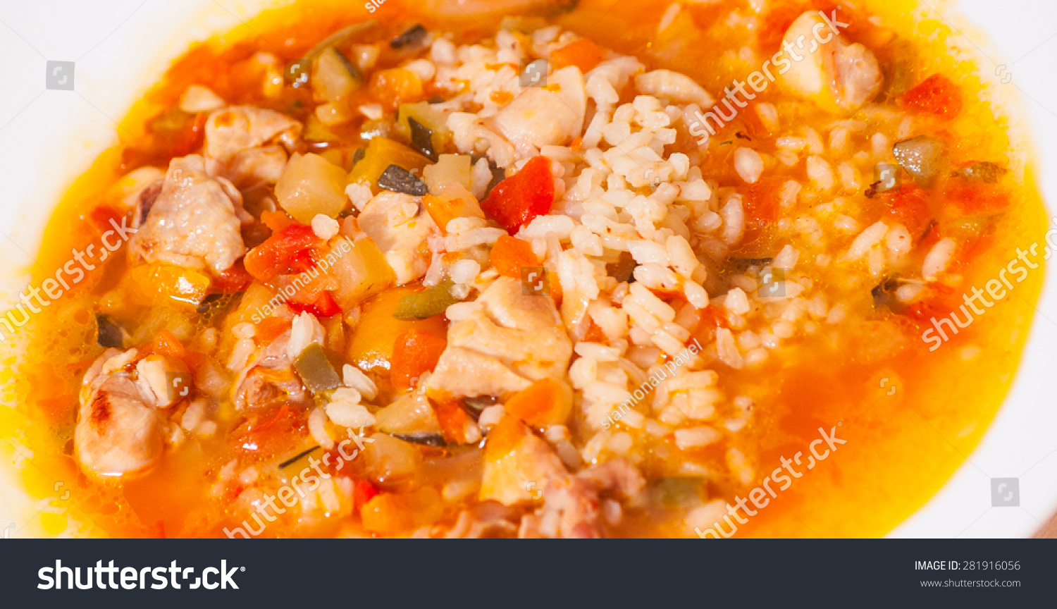 chicken soup with vegetables and rice #281916056