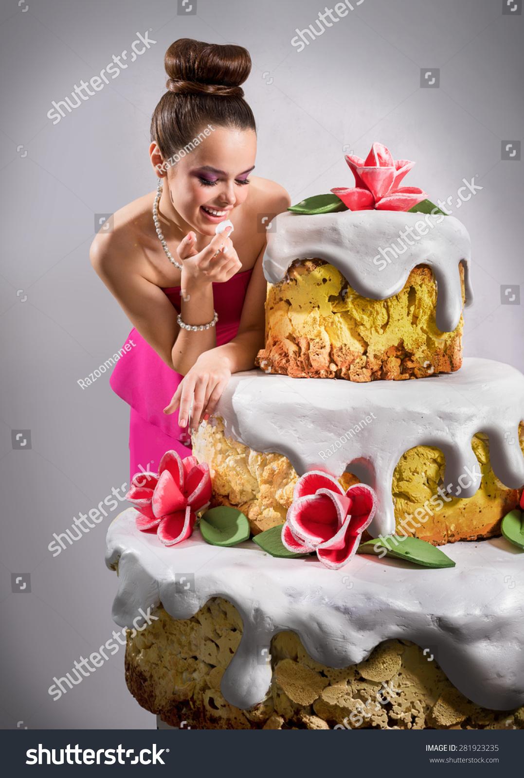 Girl Near Huge Birthday Cake Stock Photo Edit Now 281923235