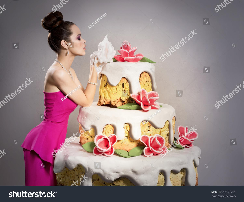 Girl Near Huge Birthday Cake Stock Photo Edit Now 281923241