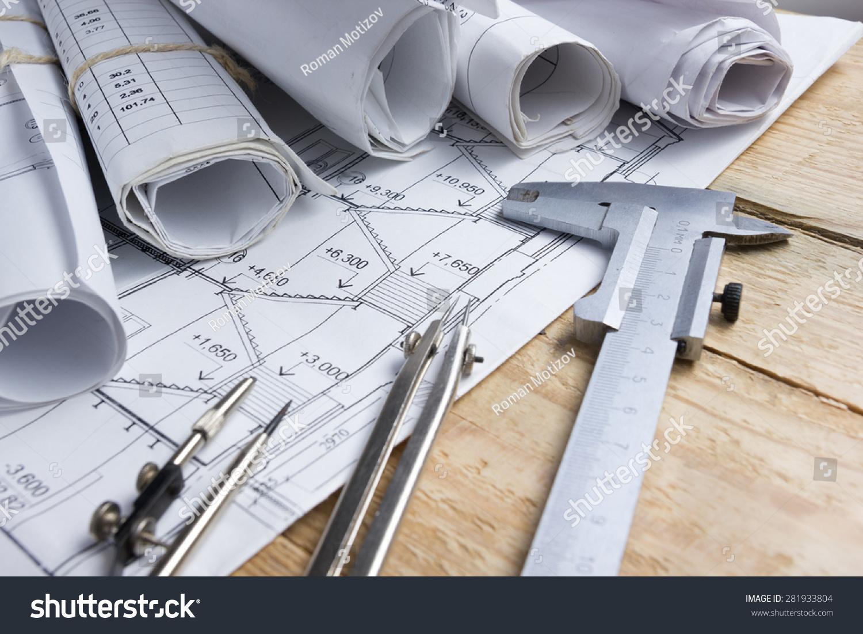 Architectural Project Blueprints Blueprint Rolls Divider Stockfoto ...