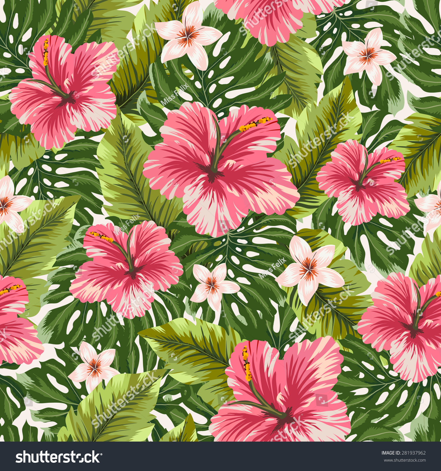 Tropical Floral Pattern Vector Nature Seamless Stock Vector