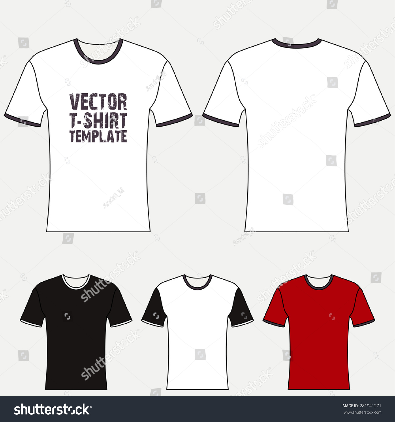 White t shirt front and back template - T Shirt Blank Design Template Front And Back View Vector