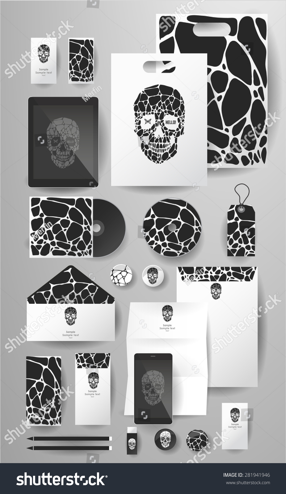 Abstract business set skull bubble corporate stock vector abstract business set with skull and bubble corporate identity templates card disk magicingreecefo Choice Image