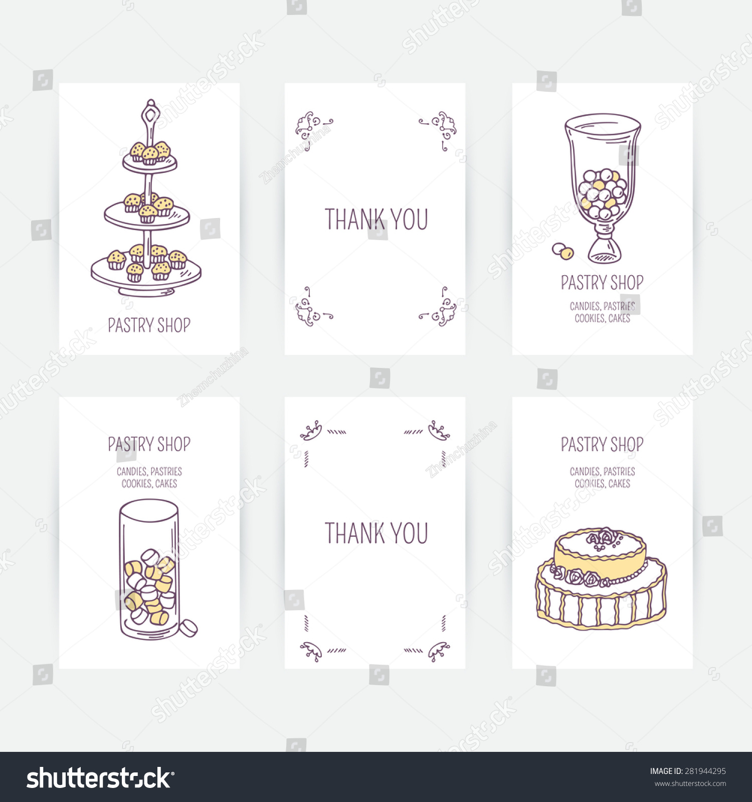 business card set candy bar icons stock vector